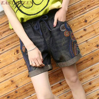 Women's shorts with high waist summer jeans short 2018 floral embroidery denim shorts straight loose ladies short DD945 L