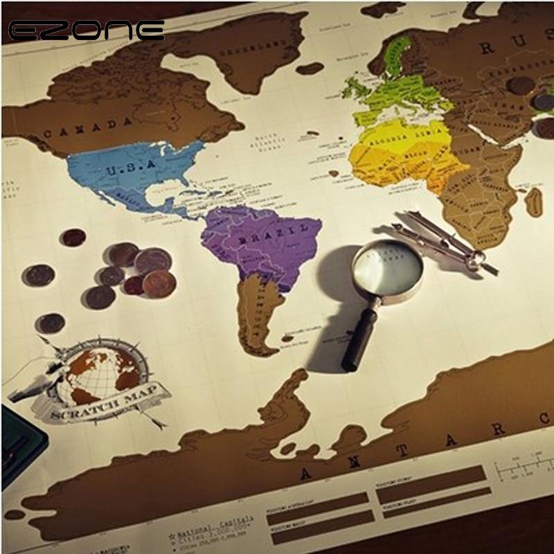 EZONE HOT Funny Scratch Map Black Mapa Creative Scratch Off Map Travel Scratch World Map For Traveler 82.5 x 59.5cm numark pt01 scratch