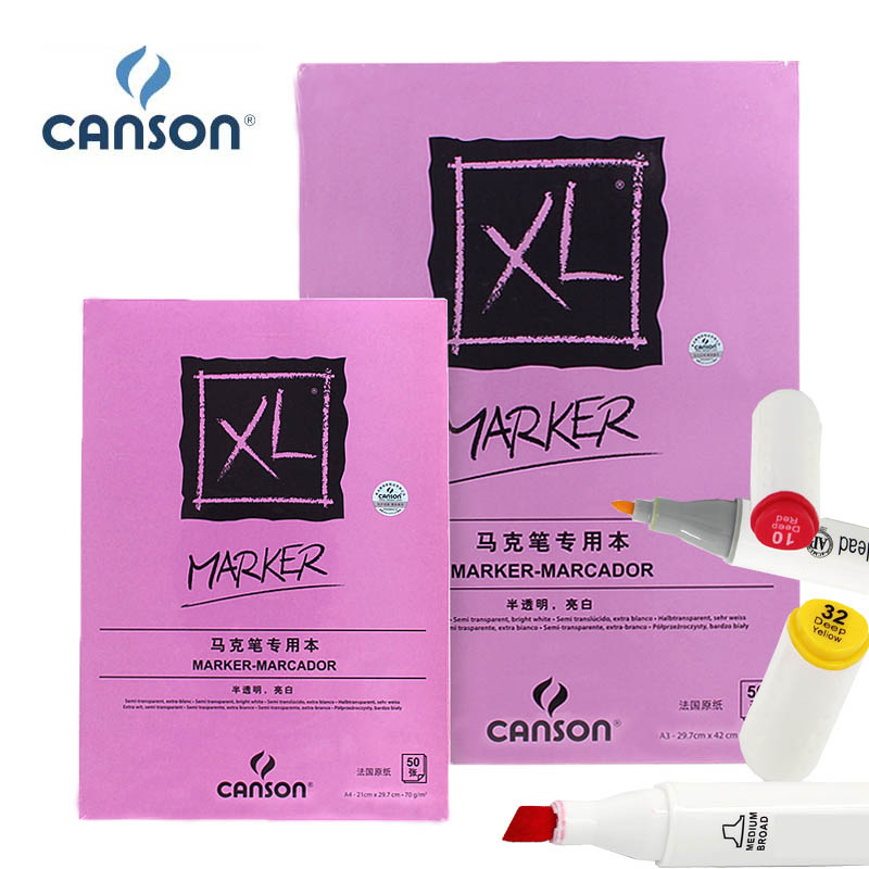 Canson XL Marker Paper Pad Drawing Sketchbook Semi Translucent For Pen Pencil Marker Fold Over White Smooth Book 50 Sheets A4