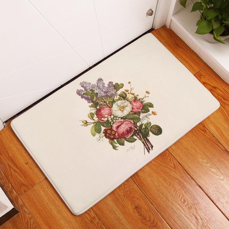 2017 Simple Style Stripe Flower Print Carpets Anti Slip