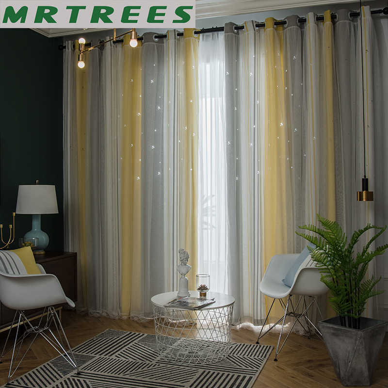 MRTREES Blackout Curtains for Living Room Star Tulle Curtains for Bedroom Finished Lace Curtain Gradien Fabric Blinds Drapes