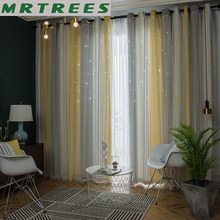 MRTREES Blackout Curtains for Living Room Star Tulle Curtains for Bedroom Finished Lace Curtain Gradien Fabric Blinds Drapes(China)