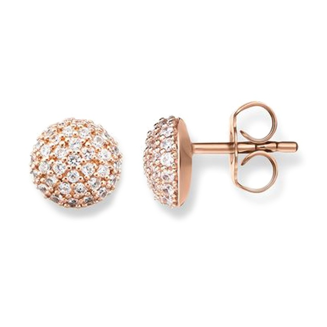 Rose Gold Color Disco Ball Ear Studs Earrings With White Zirconia Pave Most Fashion