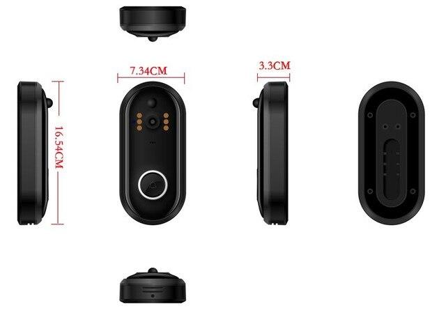 Sonnette de caméra vidéo intelligente   Sonnette de sécurité domestique HD avec appel et vidéo à deux voies, vision nocturne à infrarouge, PIR motion d