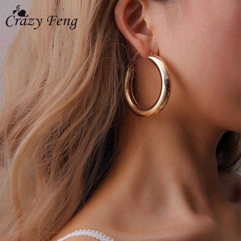 fadab558a Detail Feedback Questions about Gold Color Circle Big Earrings Statement  Party Jewelry for Women 2018 Drop Hanging Earring Bijoux Femme Bridal  Wedding ...