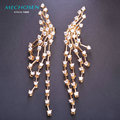 MECHOSEN Long Tassel Copper Stud Earrings CZ Zircon Prong Setting Crystal Gold Pendientes Bridal Wedding Luxury Jewelry Brincos
