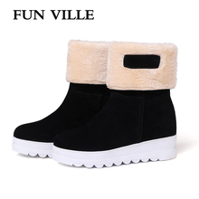 FUN VILLE 2018 New Arrival Winter Women's Snow Boots Fur Warm Ankle Boots Nubuck Thick Platform Boots Height Increasing shoes цена 2017