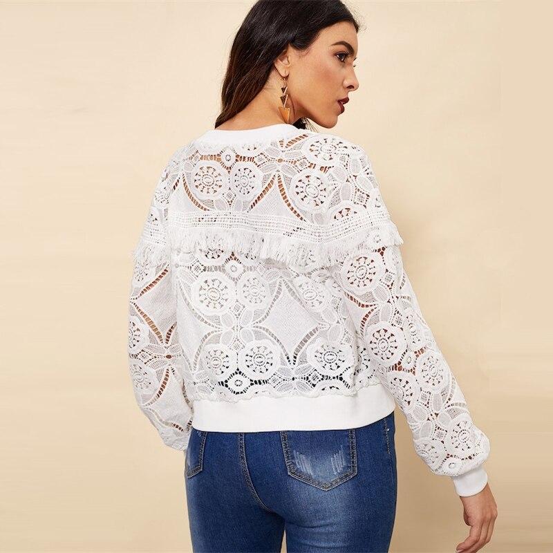 Sheinside White Elegant Hollowed Out Lace Jacket Women 19 Back Frayed Edge Detail Jackets Ladies Fringe Zip-up Lace Outwear 13