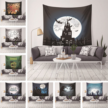 Halloween Tapestry Printed Castle Bat Wall Hanging Throw Rug Home Decoration Bar Bed Cover Blanket Table Cloth Picnic Mat