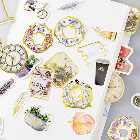 JIANWU 45pcs/set Retro creative gilt decoration sticker diary DIY decorative stickers Stationery sticker cute