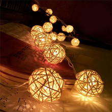 BHomify Rattan Ball AA LED String Light 2M 20Led Warm White Fairy Holiday For Party Christmas Wedding Decoration