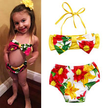 a5a3584628 Baby Swimsuit Yellow Print Girls Kid Tankini Bikini Set Floral Bottoms  Swimsuit Swimwear Bathing Suit