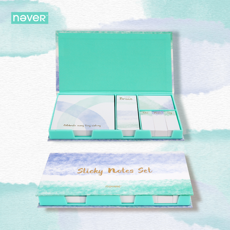 Never Watercolor Collection Sticky Notes Set Memo Pad Set Post It Diary Stickers Fashion Stationery Office And School Supplies jukuai 30 pcs lot color rainbow cloud memo pad sticky notes memo notebook stationery papelaria escolar school supplies 7162