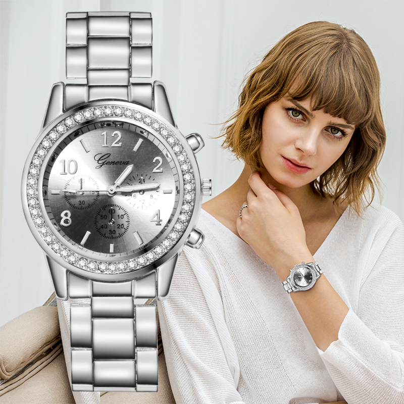 Geneva Luxury Women's Watches Relogio Feminino Fashion Metal Strap Watch Bracelet Quartz Ladies Women New Clock Bayan Kol Saati