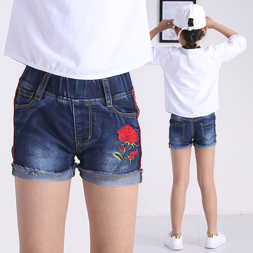 d5722ef0bd Hot Pleated Waist Summer Shorts for Kids Toddler Girls Clothing Top Quality  Jeans Trousers Dark Blue Cotton Teenage Infant Pants
