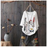 QPFJQD Art 2018 Summer New Cotton And Linen Embroidery Short Sleeved T Shirt Sweet Vintage