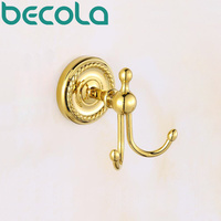 BECOLA European Style Gold Plated Brass Robe Hook Bathroom Accessories Clothes Hook Bathroom Products Coat Hook GZ 9001K