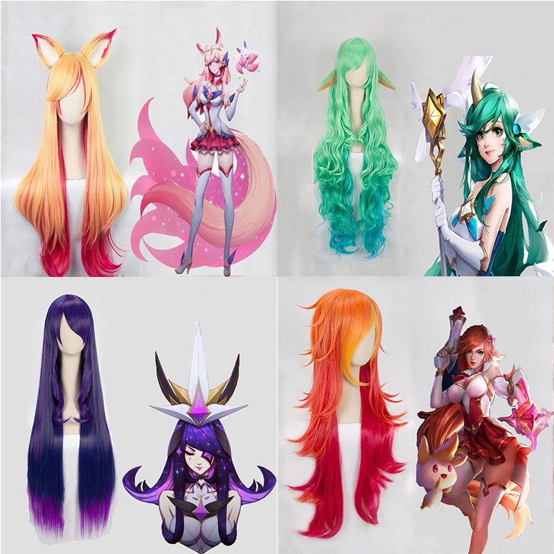 Game LOL Cosplay Wig Star Guardian Miss Fortune Ahri Ezreal Soraka Syndra Cosplay Wig Synthetic Hair Wig Halloween Party Wigs