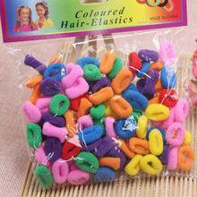 100 шт./упак. модные женские туфли для девочек эластичный канат кольцо разных Цвет повязка на голову для рождественской вечеринки сплошной хвост держатель резинка для волос