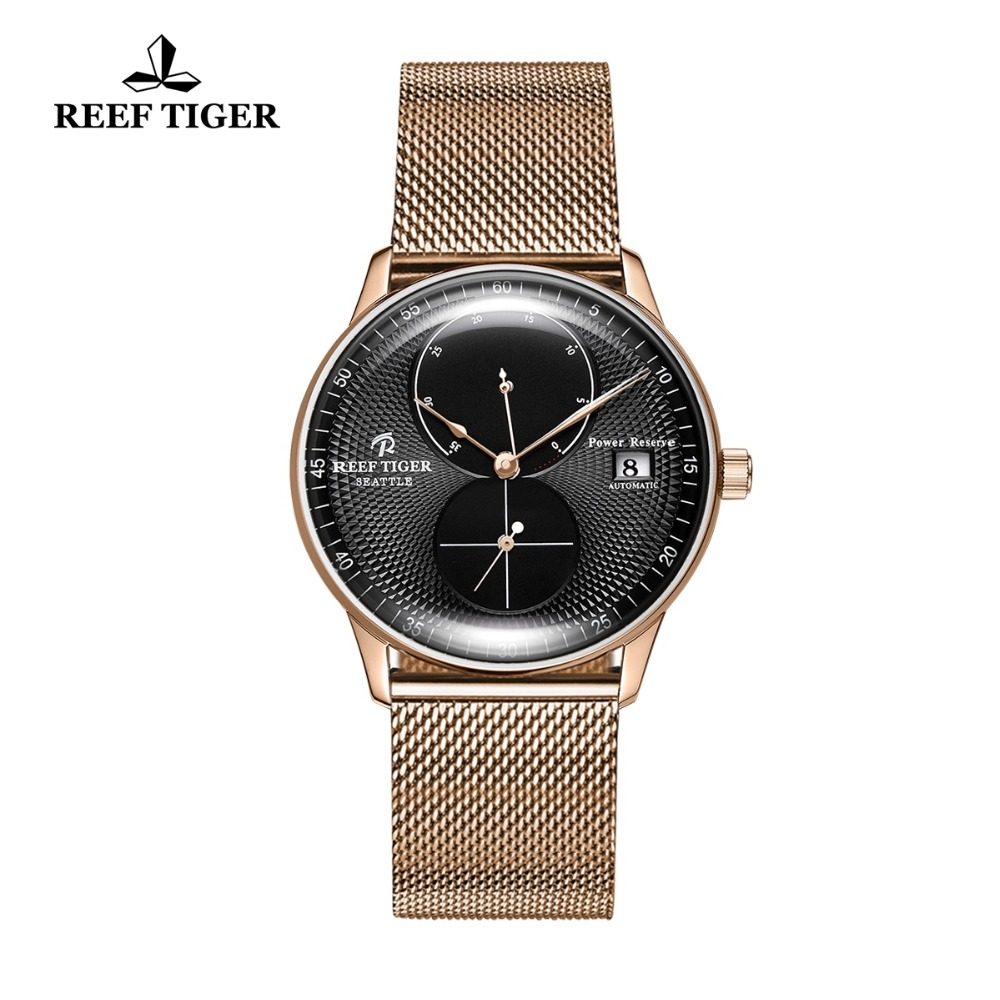 2018 New Arrival Reef Tiger/RT Top Brand Luxury Watches for Men Date Waterproof Watches Rose Gold Automatic Watches RGA82B0