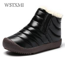 e1faebca Botas de invierno para niñas niños nieve botas Zapatos impermeables niños  tobillo charol felpa caliente moda niños botas de goma