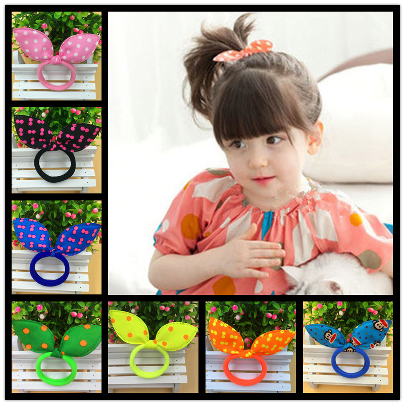 Super Cute Rabbit Ears Hair Holders Hair Accessories Child Girl Women Print Point Monkey Rubber Bands Free Shipping 10 Colours