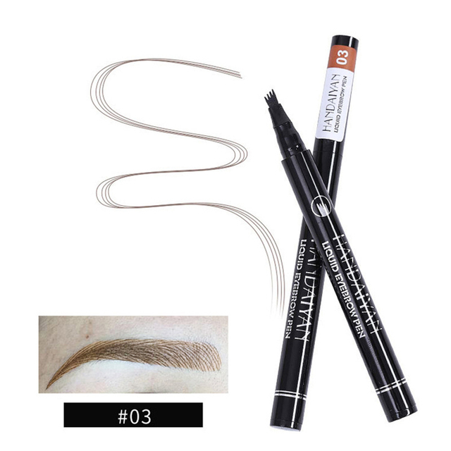 Waterproof Natural Eyebrow Pen Four-claw Eye Brow Tint Makeup 5 colors Eyebrow Pencil Brown Black Grey Brush Cosmetics Tatto 4