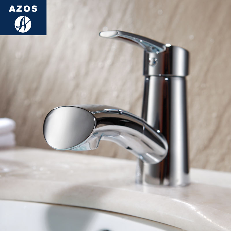 Azos Basin faucet Pull-out Wash Basin Brass Chrome Cold and Hot Switch Single Function Basin Below Counter Basin Shower Room RouAzos Basin faucet Pull-out Wash Basin Brass Chrome Cold and Hot Switch Single Function Basin Below Counter Basin Shower Room Rou