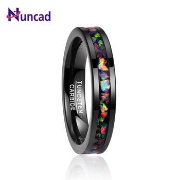 7c55538fcf10 Nuncad 2018 4 MM de ancho con incrustaciones de ópalo negro anillos de boda  anillo de carburo de tungsteno de los hombres T091R