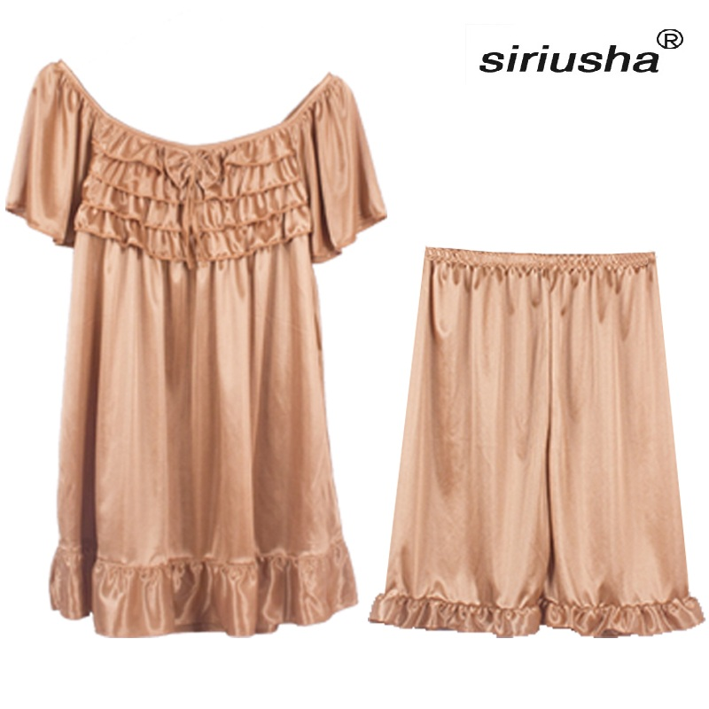 2018 Spring and Summer Pajamas Shorts Suit Large Size can Wear 100 kg Three Kinds of Collars Different Styles S68