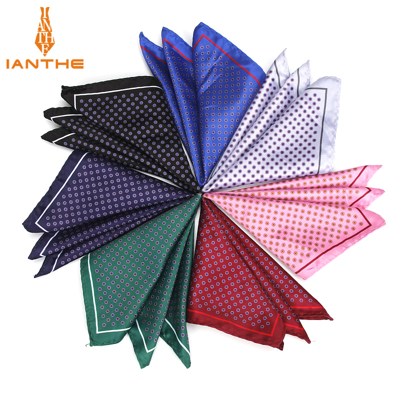 Luxury Men's Handkerchief Vintage Dot Printed Pocket Square Soft Silk Hankies Wedding Party Business Hanky Chest Towel Gifts