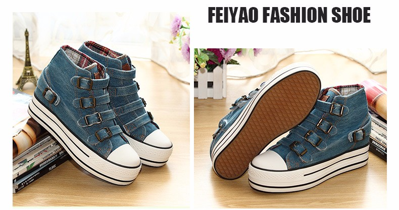 High Top Women Denim Shoes Espadrilles 2016 Fashion Autumn Hide Wedges Canvas Womens Shoes Lace Up Casual Shoes Sapatilha YD135 (24)