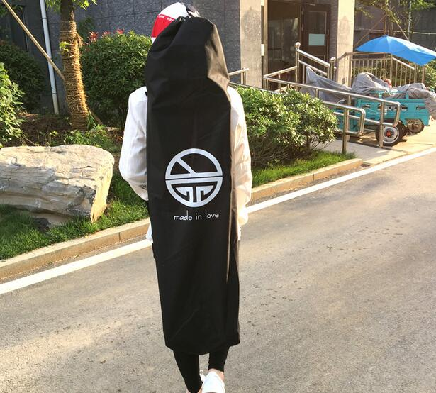 Length 110/120cm Longboard Skateboard Shoulder Backpacks Black Canvas Carrying Bags With Drawstring