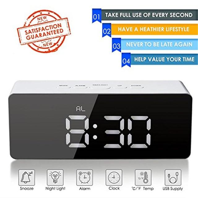 Alarm Clock Digital Led Display Portable Battery Operated Mirror Usb Ed Smart Snooze Multi