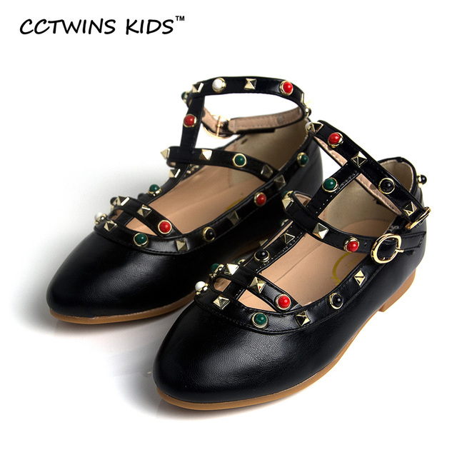 CCTWINS KIDS 2017 Spring Kid Studed Baby Girl Black Shoe Child Fashion Party Pu Shoe Toddler Brand Party Strap Flat Red G1022