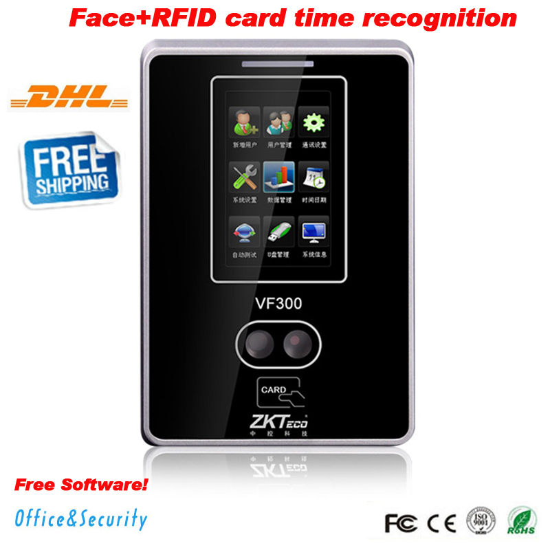 DHL ZKTeco biometric TCP/IP USB face recognition time attendance system time recorder zk vf300 Time Clock free software and SDK k14 zk biometric fingerprint time attendance system with tcp ip rfid card fingerprint time recorder time clock free shipping