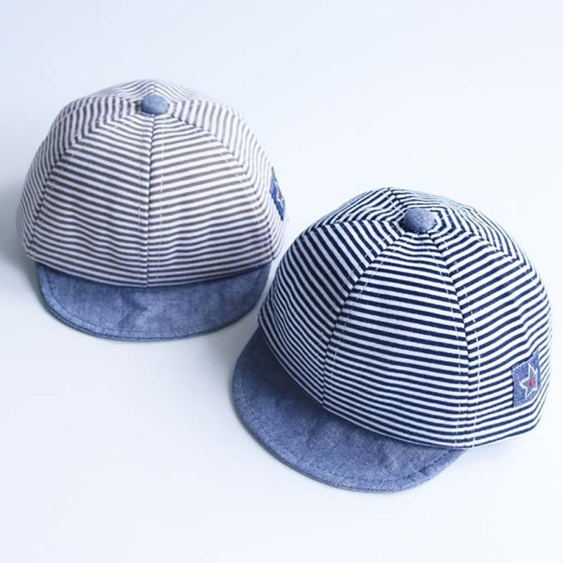 Summer Cotton Baby Hats Cute Casual Striped Soft Eaves Baseball Cap Baby Boy Beret Baby Girls Sun Hat New