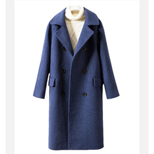 2019 Autumn winter new women XXL-5XL straight Slim thin double-breasted coat Female long thick woolen smog blue woolen coat W96 cheap Wool Blends COTTON Polyester spandex Full Solid Button Pockets Turn-down Collar Double Breasted REGULAR Within 85 or less within 15