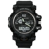Men Sports   Dual   Time Zones Alarm Calendar Chronograph Digital Analog Wrist   Watch   Military Electronics clock Relogio Masculino