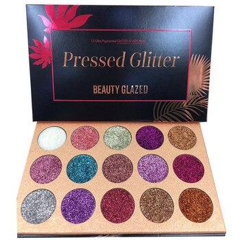 Belleza 15 colores brillo inyecciones prensado brillo sombra de ojos diamante Arco Iris maquillaje cosmético sombra de ojos imán paleta