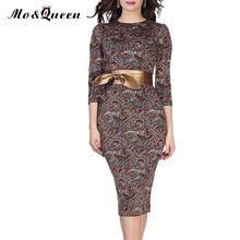 Floral Vintage Autumn font b Dress b font Women 2016 New Fashion Elegant Bow Belt Bodycon