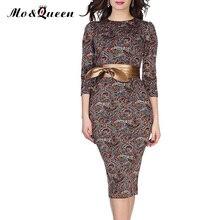 Floral Vintage Autumn Dress Women 2016 New Fashion Elegant Bow Belt Bodycon Sheath Dresses Women European Women Vestido Clothing