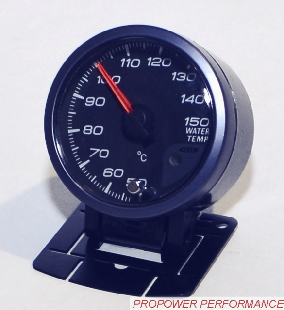 60 MM MOTOR por MOVIMIENTO de AGUA TEMP GAUGE CARA NEGRO CON PICO de MEMORIA Y ADVERTENCIA