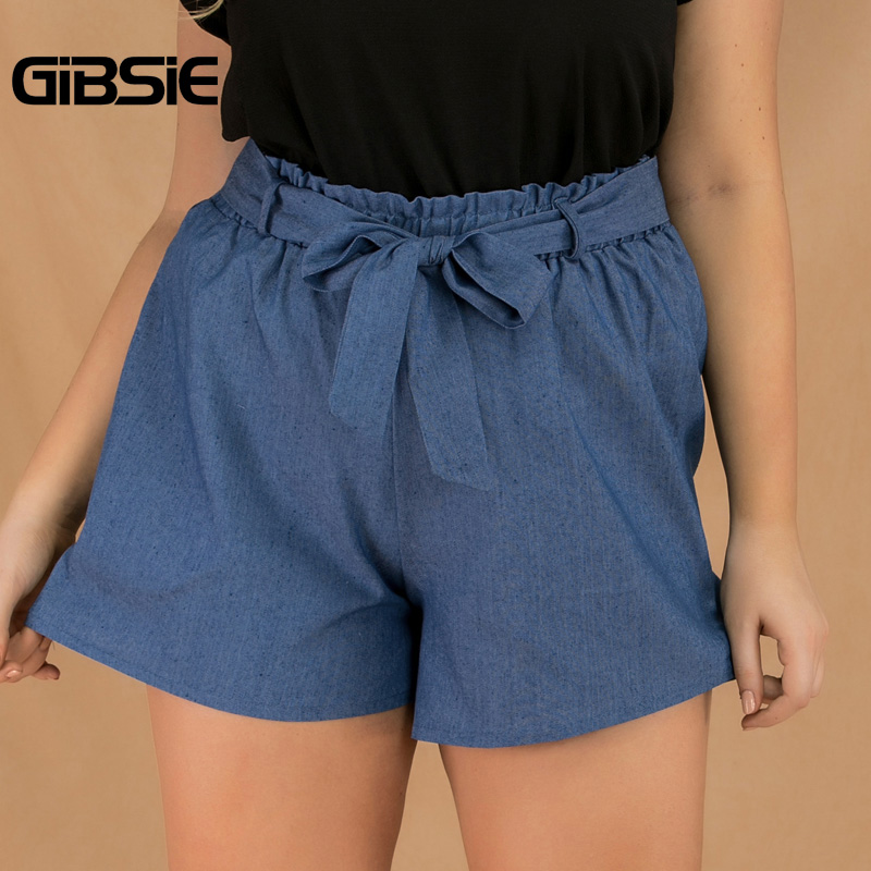 GIBSIE Plus Size Women's Casual Thin Denim Shorts Female Clothes 2019 Solid High Waist Shorts For Women Ladies Summer Shorts