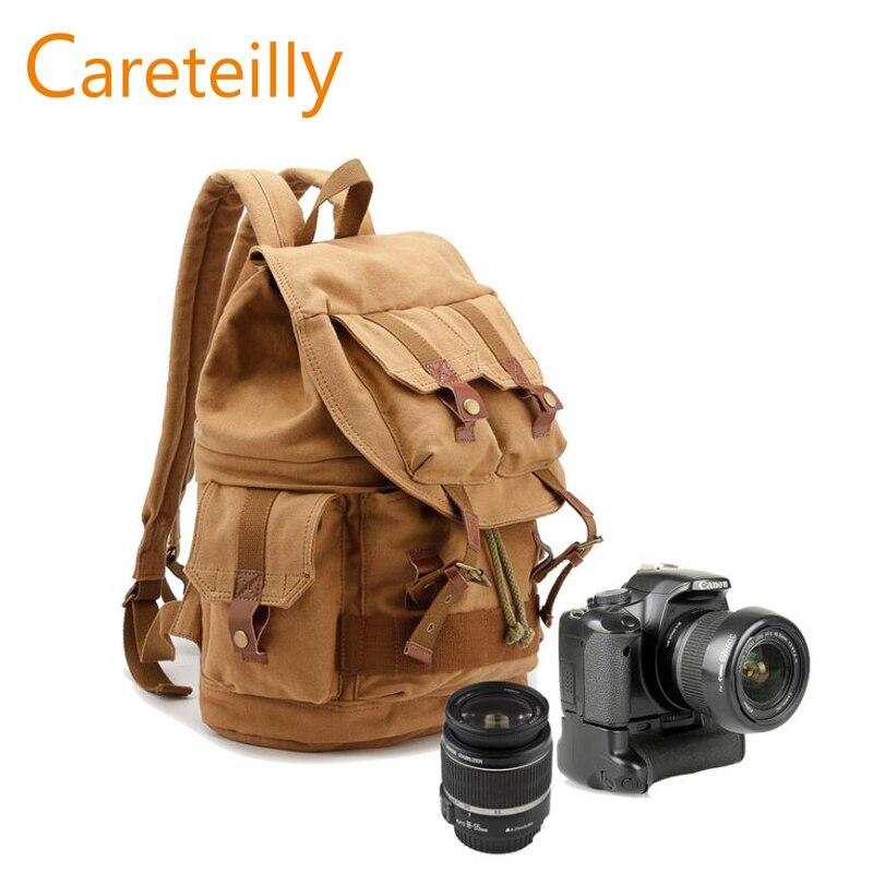Sac à dos classique en toile pour appareil photo DSLR SLR sac à dos pour homme et femme (vert armée/kaki)