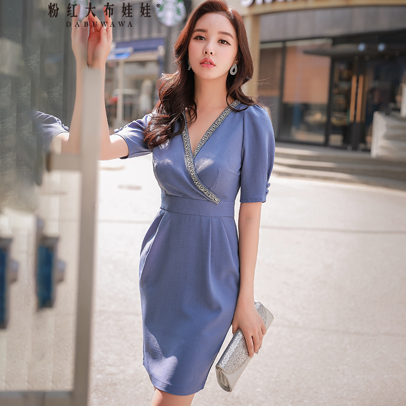 Dabuwawa New Deep V Neck Sexy Club Midi Dress Women Girls Summer Grey Blue Beading Slim