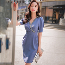 Dabuwawa New Deep V-Neck Sexy Club Midi Dress Women Girls Summer Grey-Blue Beading Slim Party Sheath Dresses D18BDR291