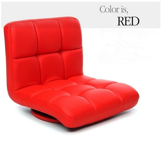 Red Leather Swivel Chair 360 Degree Rotation Living Room Furniture Japanese Tatami Zaisu ...