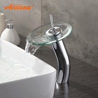 Accoona Glass Basin Faucet Single Handle Centerset Waterfall Bathroom Sink Contemporary Basin Faucets With Hot&Cold Water A9190