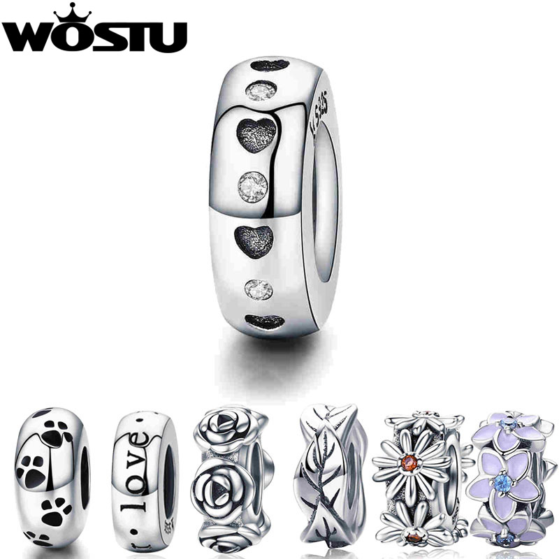 WOSTU Real 925 Sterling Silver 9 Styles Heart & Clear CZ Spacer Stopper Beads fit Wostu original Charm Bracelet Jewelry CQC593